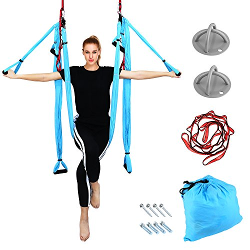 Aerial Yoga - Yoga Swing/Hammock/Trapeze Set for Antigravity Yoga Inversion Exercises Silk Fabric - 2 Extensions Straps, 4 Carabiners, 6 EVA Handles, 2 X-Mounts, and Pose Guide Included ( Blue )