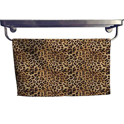 homecoco Brown Popular Bath Towel Set Leopard Print Animal Skin Digital Printed Wild African Safari Themed Spotted Pattern Art Fun Hand Towels Set W 10