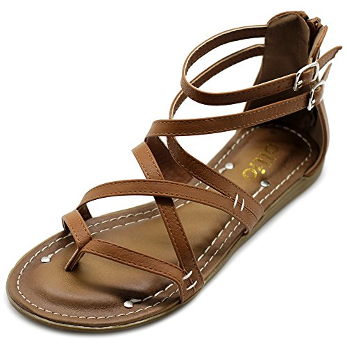 Ollio Women's Shoe Gladiator Strap Flat Zori Sandal M1052 (10 B(M) US, Brown)