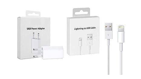 RIGENERATI SRL Caja Original Kit de Carga: MD813 Cargador Adaptador USB + Cable de Carga para iPhone 5 6 S 7 8 XS MD818