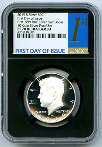 2019 S FIRST-EVER .999 SILVER PROOF KENNEDY FIRST DAY OF ISSUE REGISTRY QUALITY Half Dollar PF70 NGC UCAM (5 Dollars Silver Proof)