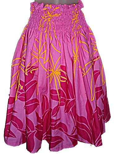 Hula Costume Patterns (HAWAIIAN HULA PAU PA'U SKIRT PINK YELLOW LEAF TRIBAL PATTERN)