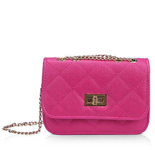 Pink Cross Body (HDE Women's Small Crossbody Handbag Purse Bag with Chain Shoulder Strap (Hot Pink))
