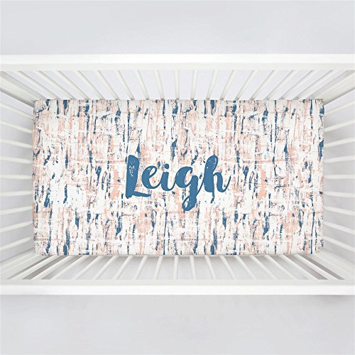 (Carousel Designs Personalized Custom Denim and Peach Birch Crib Sheet Leigh Idea - Organic 100% Cotton Fitted Crib Sheet - Made in The USA)