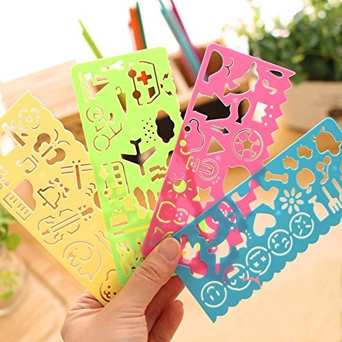 New 4 color 4 different types Stationery Children Painting Drawing Template Rulers Lovely Ruler Gift For Kids School (Ruler Type)