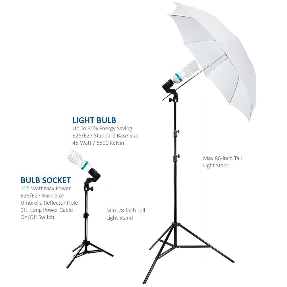 Amazon Photography Photo Portrait Studio 600W Day Light Umbrella Continuous Lighting Kit By LimoStudio LMS103 Photographic Umbrellas