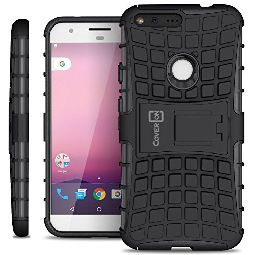 Google Pixel XL Case, CoverON [Atomic Series] Hybrid Armor Cover Tough Protective Hard Kickstand Phone Case for Google Pixel XL - Black