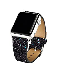 Apple Watch Band ,iitee (TM) Christmas Glitter Power Leather Bling Band Bracelet for Apple Watch (38mm Black)