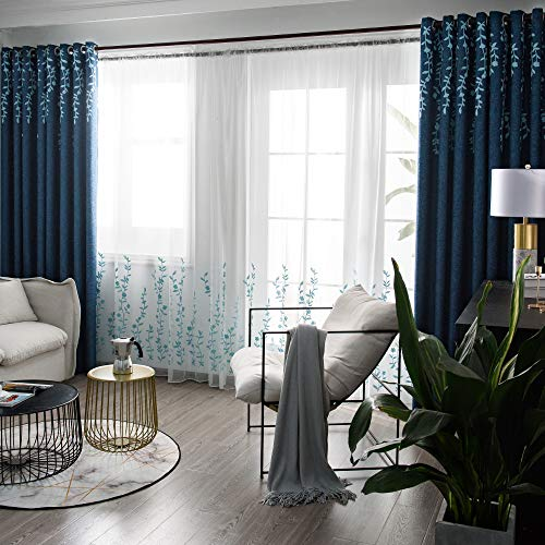 Tinysun Faux Vine Flower Embroidered Linen Textured Curtain for Bedroom,Room Darkening Mute Groment Top,Elegant Designed Window Curtains for Living Room(100 by 84 Inch Length,Navy/Blue,1 Panel)