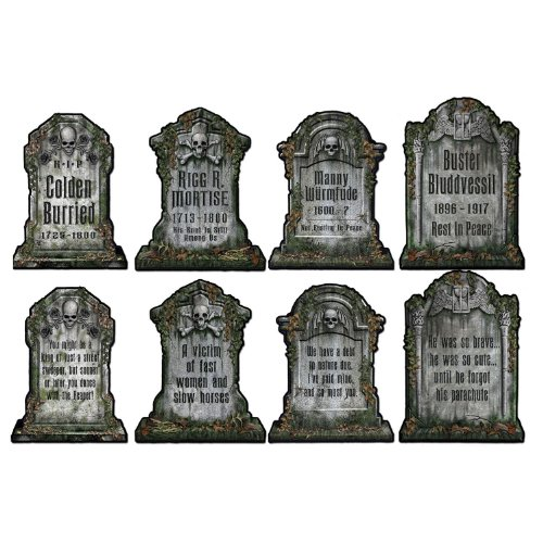 Halloween Headstone Sayings (Beistle 01516 Packaged Tombstone Cutouts, Includes 4 Cutouts, 15)