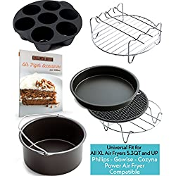 XL Air Fryer Accessories XL for Power Airfryer XL Gowise and Phillips, Deluxe Set of 7, Fit all 5.3QT - 5.8QT and UP