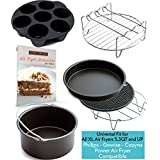 XL Air Fryer Accessories XL for Power Airfryer XL Gowise and Phillips, Deluxe Set of 6(+ recipe book), Fit all 5.3QT - 5.8QT and UP,Black