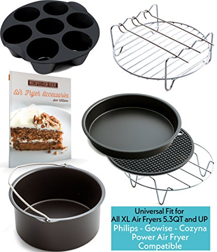 Xl Air Fryer Accessories Xl For Power Airfryer Xl Gowise And Phillips  Deluxe Set Of 6   Recipe Book   Fit All 5 3Qt   5 8Qt And Up Black