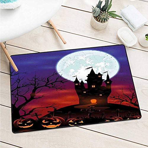Wang Hai Chuan Halloween Front Door mat Carpet Gothic Haunted House Castle Hill Valley Night Sky October Festival Theme Print Machine Washable Door mat W31.5 x L47.2 Inch -
