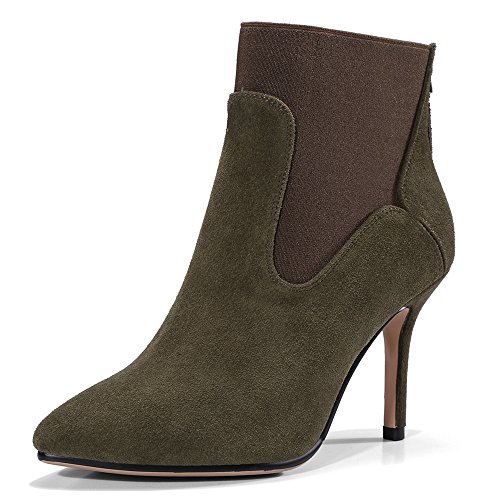 Sexy Handmade Seven Nine Pointy Toe Suede Women's Leather Ankle Two Heel Boot Green Stiletto Tone pWPvCWn