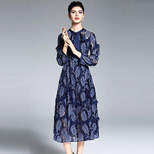 Cotylédons Women`s Robes De Broderie Décontractés Encolure Dégagée Costume Couleur Unie Jupe En Dentelle De Cou Pour L'automne Printemps