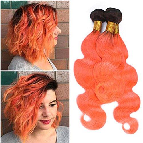 Orange Bundle - Tony Beauty Hair Black and Orange Ombre Brazilian Human Hair Weave Bundles Body Wave Wavy 100 Virgin Human Hair #1B/Orange Dark Root Ombre Human Hair Weft Extensions 3/4 Pcs Lot (12 14 16)