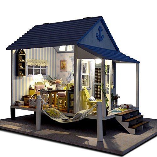 Rylai Wooden Handmade Dollhouse Miniature DIY Kit -Happy Coast Series Beach House  Furniture Dollhouses 2015 X'mas Gift( 1:24 Scale Dollhouse)