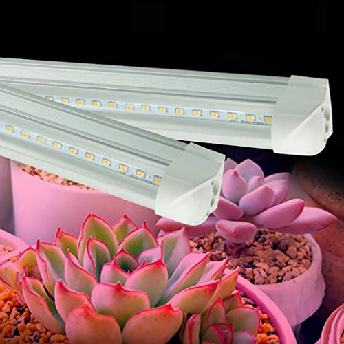 Siamese Light - SUJING LED Grow Light for Indoor Plant | Full Spectrum LED Plant Light Grow Light T8 Siamese Double Row Lamp Beads Dual Head Dimmable Tube 0.3 m