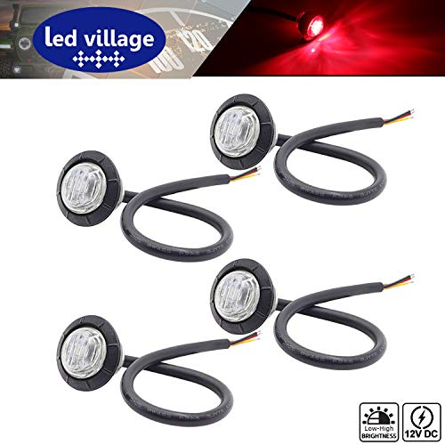 [Pack of 4] LedVillage 3/4 Inch Mini Clear Lens Red LED Round Side Marker Bullet Lights Clearance Lamp with Rubber for Van Trailer SUV Truck RV Pickup ATV Tractor Dump 12V DC Brake Rear Stop 3led-HL