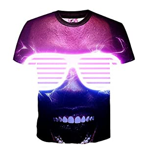 Changxingr Unisex White Sunglasses 3D Printed Graphic Men's T Shirts Summer Casual Cool Top Tees