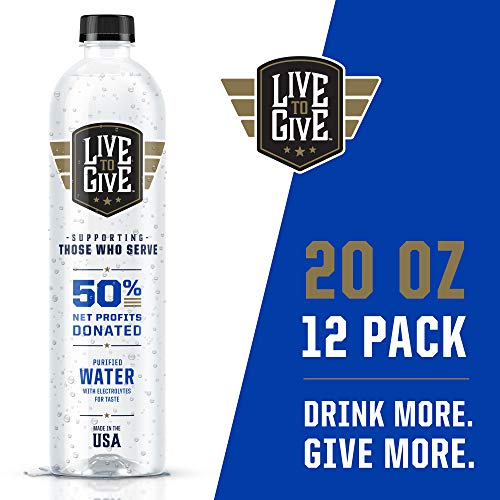 Live to Give 20oz (12 pack) Premium Purified Bottled Water pH Balanced with Electrolytes For Taste, 50% of Net Profits Donated to Military & First Responder Families in Need