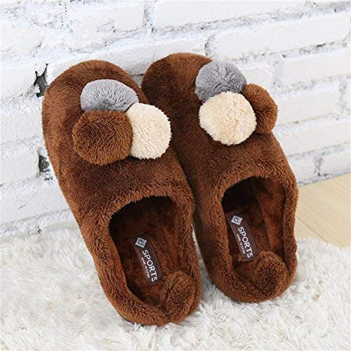 1 JaHGDU Warm Slippers Men Casual Cotton Slippers Super Soft Plush colorful Hair Ball Decorative Warm in Winter and Autumn Indoor shoes
