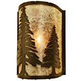Meyda Tiffany Custom Lighting 68169 Tall Pines 1-Light Wall Sconce - Antique Copper Finish with Silver Mica Shade