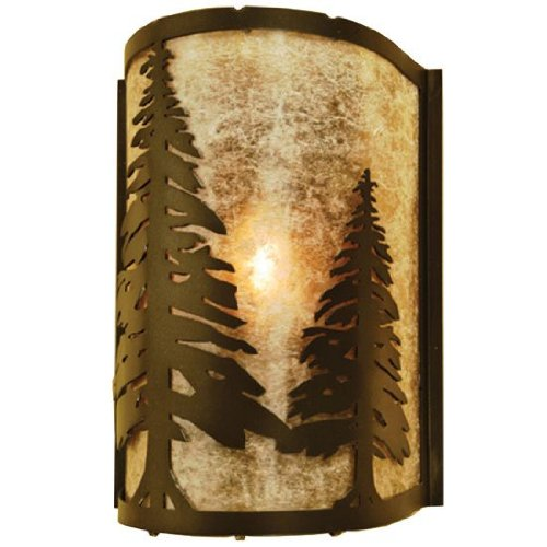 Silver Mica Shade - Meyda Tiffany Custom Lighting 68169 Tall Pines 1-Light Wall Sconce, Antique Copper Finish with Silver Mica Shade