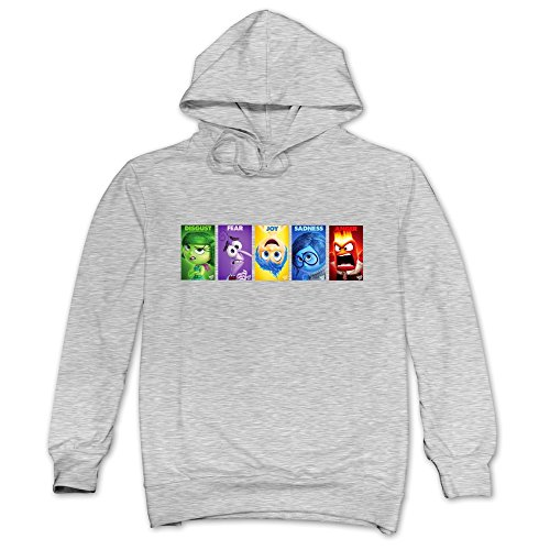 TIKE Men's Inside Out 2015 Character Name Hoodies Sweatshirt Color Ash Size (Male Disney Character Names)