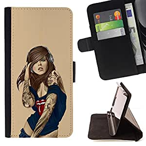 - GRUNGE HEADPHONES WOMAN ART LIPS SEXY GIRL - - Prima caja de la PU billetera de cuero con ranuras para tarjetas, efectivo desmontable correa para l Funny HouseFOR Apple Iphone 5C