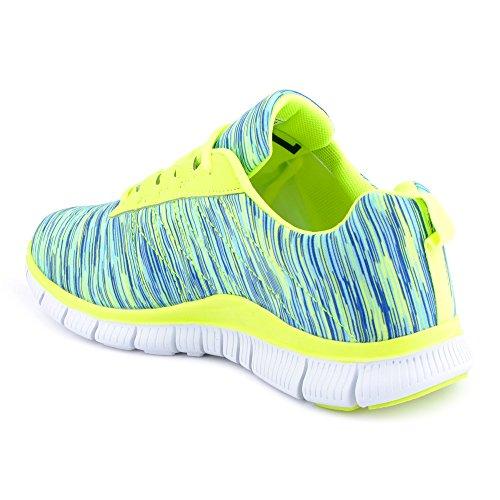 FiveSix Herren Damen Sneaker Sportschuhe Laufschuhe Freizeitschuhe Mehrfarbig Runners Fitnessschuhe Low Unisex Schuhe Grün-W