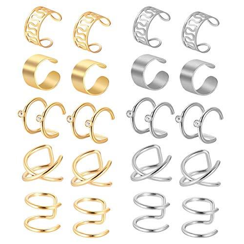 Natuce 10 Paar Edelstahl Fake Helix Nicht Piercing Ohrklemme, Ohrringe Ear Cuff Ohrclips für Männer Damen Ohrklemme - Gold & Silber