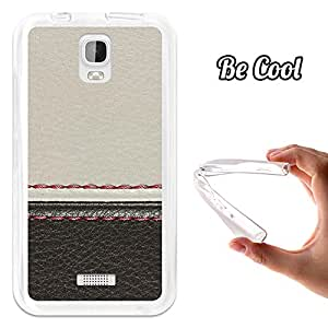 BeCool - Funda Gel Flexible Huawei Y3 - Y360 Cuero Blanco y Negro Carcasa Case Silicona TPU Suave