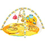 Decdeal Baby Play Mat Kick Piano Gym Fun Activity Center with Light Music Cushion Rattle Toy for Baby Boy Girl 0-36 Months Yellow