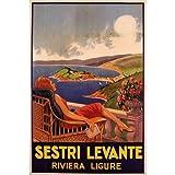 GIRL RESTING SESTRI LEVANTE RIVIERA LIGURE EUROPE ITALY ITALIA VINTAGE POSTER CANVAS REPRO