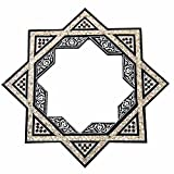 W64 Islamic Star Inlaid Mother Of Pearl Black Wood Mirror Frame