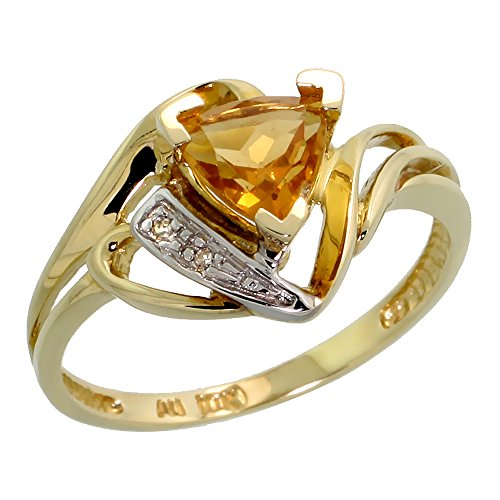 10k Gold Diamond Natural Citrine Ring Trillium Cut 6mm November Birthstone 1/2 inch wide, size 8 by Silver City Jewelry