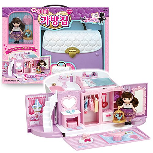 Little Mimi Bag House Toy Set Korean Barbie Doll for Girl Kids, Trasforming Handbag House