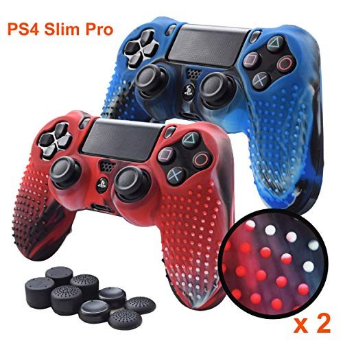 - Pandaren PS4 Controller Grips,Studded Anti-Slip Silicone Cover Skin Set Compatible for PS4 /Slim/PRO Controller(Skin x 2 + FPS PRO Thumb Grips x 8)