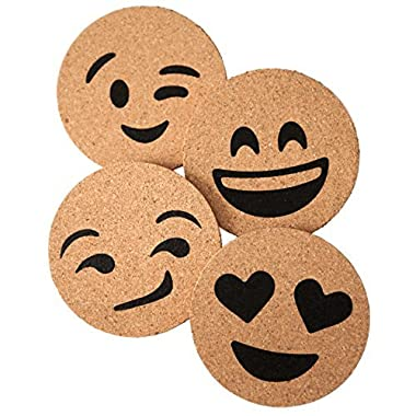 Corkologist Emoji Cork Coaster Printed, Set of 4