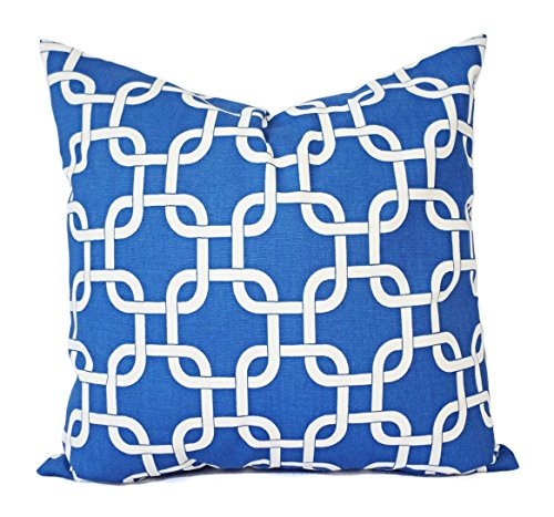 Royal Blue Pillow Cover - Geometric Print Pillow - Custom Sized Pillows