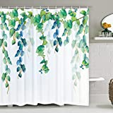 Green Radish Leaf Shower Curtain with 12 Hooks, Green Plant Design Shower Curtain Waterproof Durable Bathroom Shower Curtain