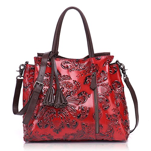 Embossed Leather Shoulder Bag - APHISON Ladies Handbags Top Handle Bag Shoulder Bags Ladies Leather Tote Purses for Women, Unique Embossed Floral Cowhide Leather (RED)