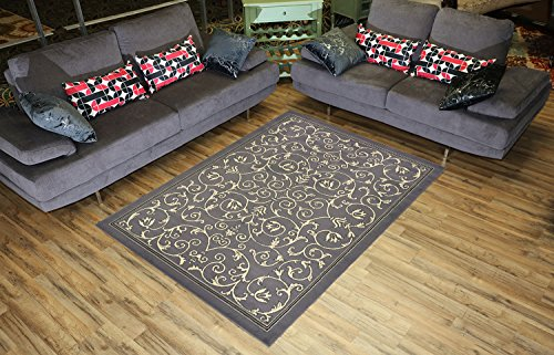 Conur Collection Floral Scroll Area Rug Rugs Modern Contemporary Traditional Area Rug Rugs Veronica 3 Color Options (Grey, 4'11
