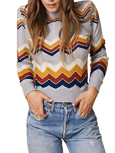 HZSONNE Women's Casual Ripped Geometric Color Block Wave Stripe Sweater Slim Fit Long Sleeve Knit Pullover Jumper Tops Grey ()