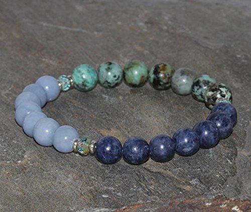 JP_Beads 8mm Sapphire, Angelite and African Turquoise Beaded Bracelet, Natural Gemstone Bracelet, Healing Crystals, Yoga Bracelet