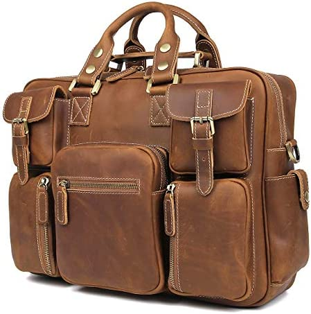 Texbo Vintage Full Grain Cowhide Leather 15.6 Inch laptop Briefcase Messenger Bag Tote