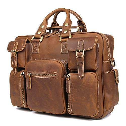 (Texbo Vintage Full Grain Cowhide Leather 15.6 Inch laptop Briefcase Messenger Bag)