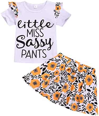 30e87065 Hatoys Toddler Kid Baby Girl Letter Print T-Shirt Top+Floral Bow Skirt 2PC